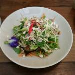Thai salad of mint, lemongrass, corriander, organic cashews and grilled fish