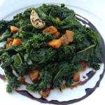 Warm Salad of Sautéed Kale, Butternut Squash, Balsamic Reduction