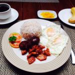 2 breakfast options combined - chicken tocino and davao longganisa