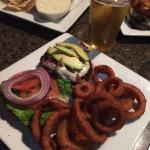 Burger, rings, queso, chips....  And a cold beer