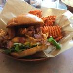 Bear burger with sweet potato fries