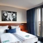 room with picture about bed