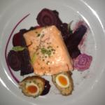 Loch Duart salmon with beetroot and spinach