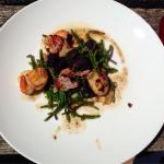 Scallops with black pudding, bacon and samphire. Presentation doesn't look great but taste was a