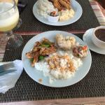 Chicken strips with coconuts rice! Yummy