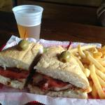 Giant muffuletta sandwich with fried bologna!