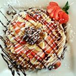 """Big Sur"" - pancakes, strawberries, bananas, choc. chips, walnuts"