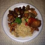 Mix of fried rice, general chicken, sesame chicken, sweet and sour chicken, beef and broccoli &