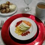 """refreshing fresh fruit platter with homemade apple muffin, breakfast """"appetizer"""""""