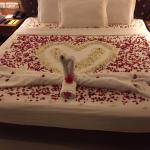 Engagement bed arranged by the hotel manager and his staff