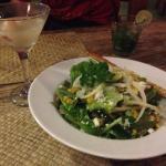 Home made salad & Martini with lytchee- yummmmiiiii Quite fresh everything