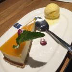 Vanilla and passion fruit cheesecake with passion fruit sorbet set menu
