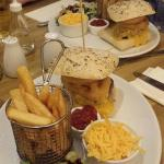 MAINS  both had Monty's Burger.  Comes with chips, salad, onion rings and an option of colesla