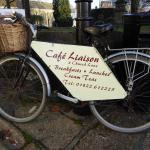 Bike advertising Cafe in Plymouth Road entrance