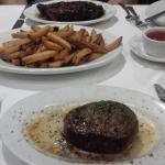 Petite fillet, 16oz strip and fries - fillet was overcooked, $90 bill after the $70 voucher no d