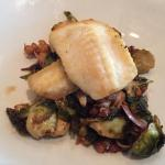 Mahi mahi over Brussels sprouts and cauliflower