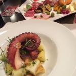 Kartoffelsalat mit Tintenfisch