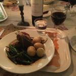 Lamb meatballs with new potatoes and sautéed string beans.