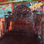 a wood carved bed