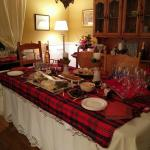 The dining room all set up for NYE celebrations
