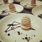 Chestnut mousse tart, balkan yoghurt cream, sour cherry compote, chestnut paste