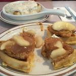 Chicken Apple Waffles and Biscuit with Gravy