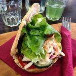 Lovely yam and veggie pitta sandwich, so filling and good!