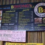 Boyongs Menu