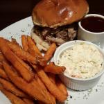 Pulled pork burger and sweet potato fries