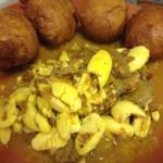 Ackee and saltfish with fried dumplings!