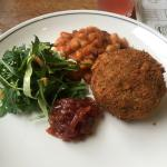 Vegetarian scotch egg with baked beans! yum
