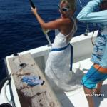 "They helped me ""trash the dress"" fishing in my wedding dress :-)"