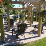 Outdoor fire pit guest seating area