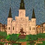 Beautiful art work made entirely of Mardi Gras beads on display for sale