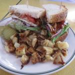 BBQ Chicken Avocado Jack Sandwich with home fries