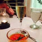 Plum tomato soup paired with sparkling white wine