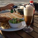 adult fish and chips meal, with a coke spider.