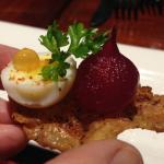 Quail egg and roasted onion