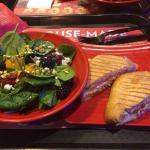 Berry Salad and Chicken Pesto Panini