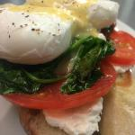 Poached eggs over spinach, tomato, and house-made baguette