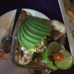 Fresh top view of baja shrimp cocktail