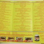 il menu con l'ampia scelta dei panini