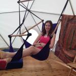Relax in the swing in our Geodesic Dome