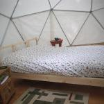 Comfortable double bed in Geodesic Dome