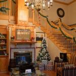 Hotel lobby at Christmas - warm and inviting