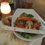 Chicken Stir Fry with Egg roll and Chili Sauce and rice (massive portion)