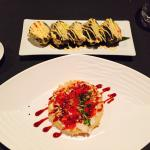 Sushi pizza and wasabi roll