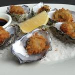 Hot Pacific oysters, Japanese panko crumbs with wasabi & soy