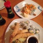 """Volcano roll & California/Shrimp tempora roll platter"""