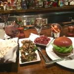 Dinner at Maggie's Pub - Truffle Popcorn, Brussel Sprouts, Burger